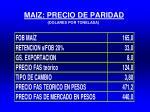 maiz precio de paridad