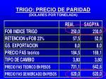 trigo precio de paridad dolares por tonelada