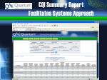 cqi summary report facilitates systems approach
