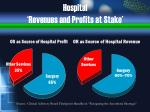 hospital revenues and profits at stake