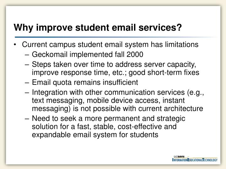 Why improve student email services