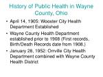 history of public health in wayne county ohio