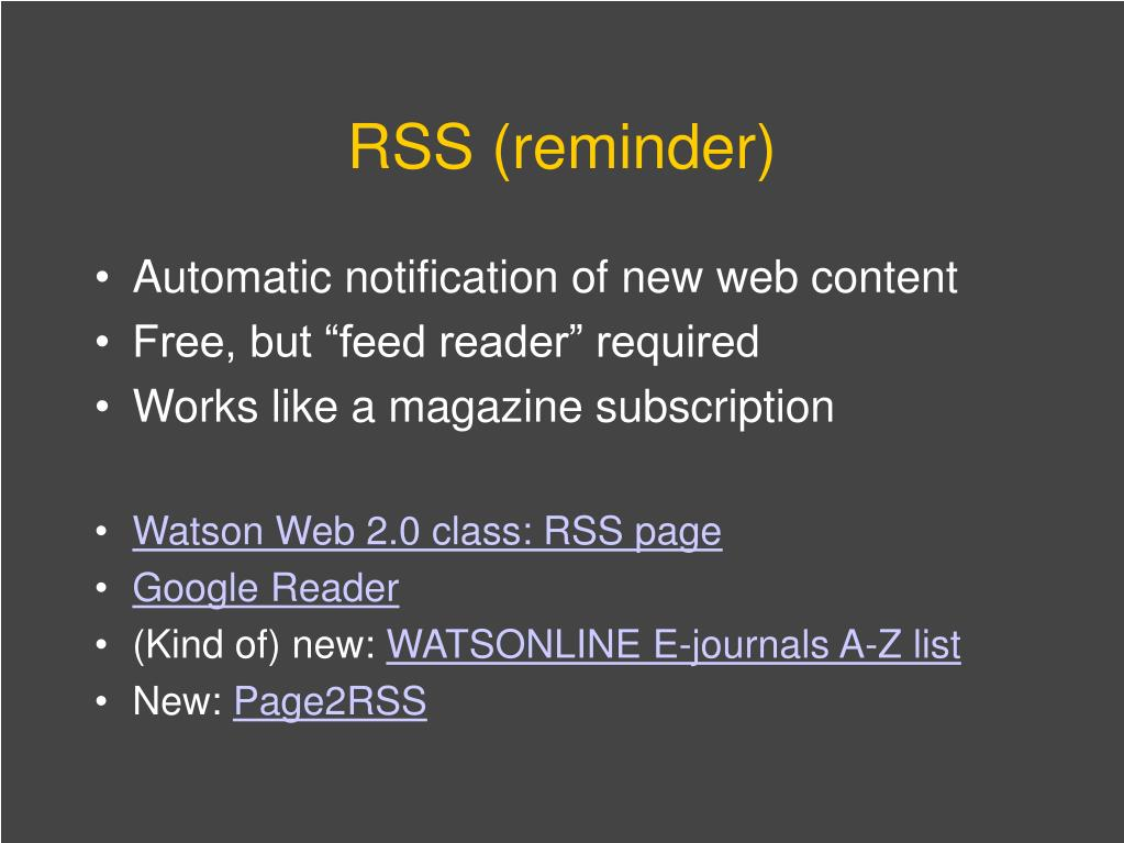 RSS (reminder)