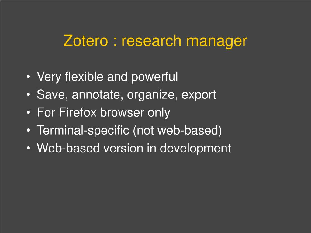Zotero : research manager