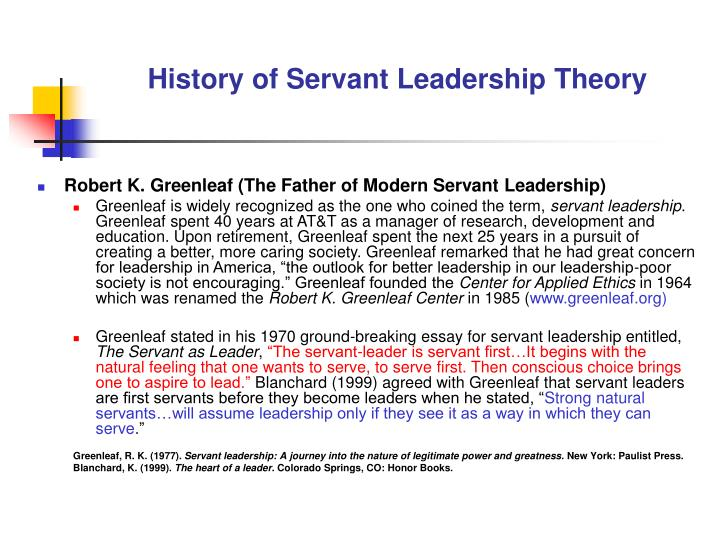 thesis on servant leadership Defining servant leaders servant leadership is a philosophy and set of practices that enriches the lives of individuals, builds better organizations and ultimately creates a more just and caring world, according to the center for servant leadership if that evokes your ideal of socially responsible.