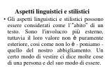aspetti linguistici e stilistici
