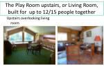 the play room upstairs or living room built for up to 12 15 people together