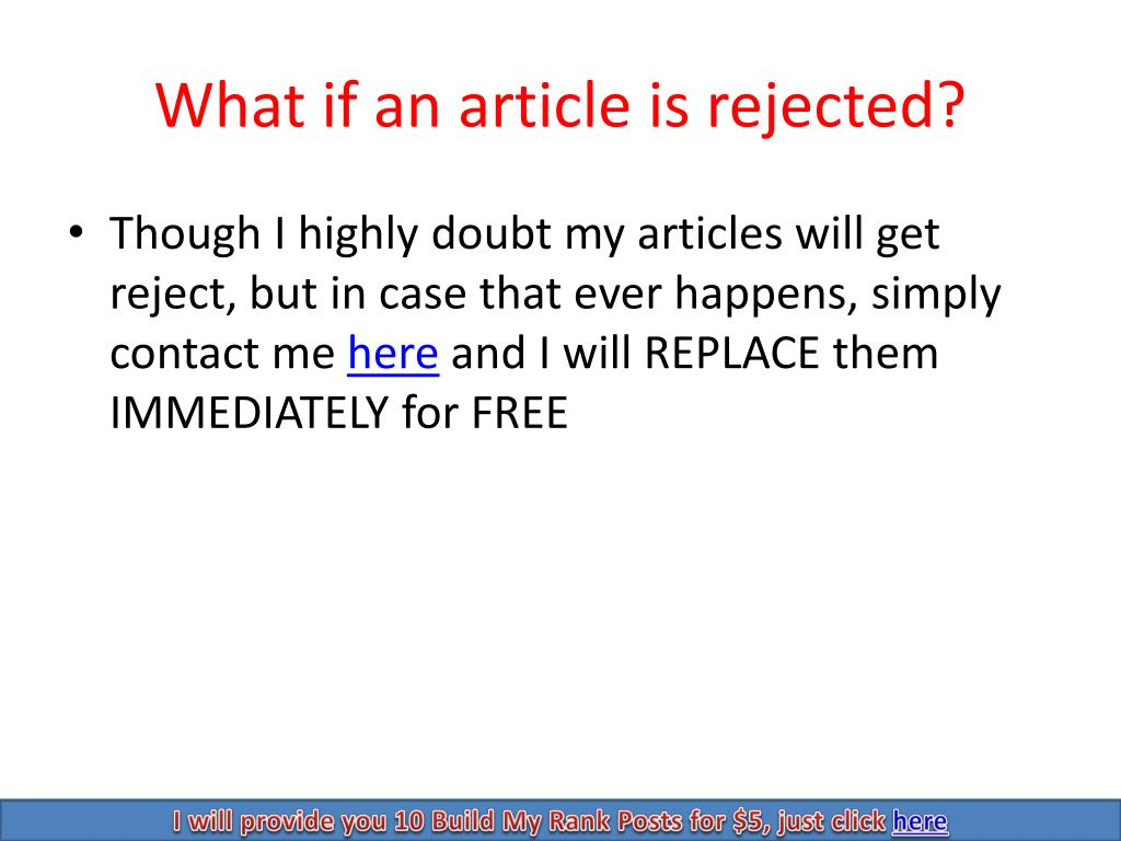 What if an article is rejected?