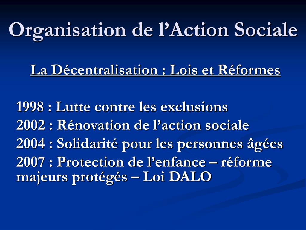 organisation de l action sociale l.
