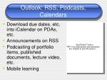 outlook rss podcasts calendars