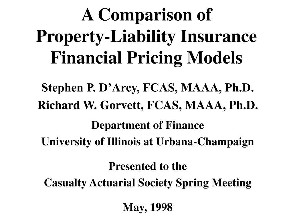 a comparison of property liability insurance financial pricing models l.