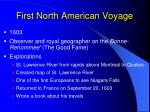 first north american voyage