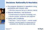 decisions rationality heuristics