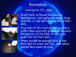 procedure staining the tio 2 slide