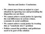 racism and justice conclusions