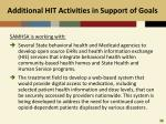 additional hit activities in support of goals