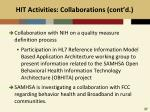 hit activities collaborations cont d