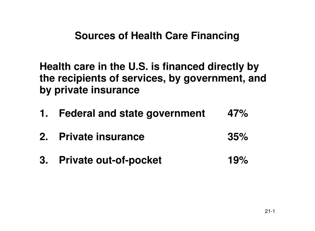 sources of health care financing l.