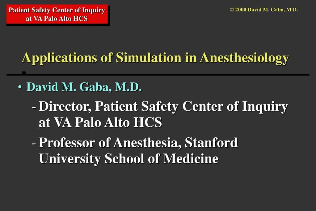 applications of simulation in anesthesiology l.