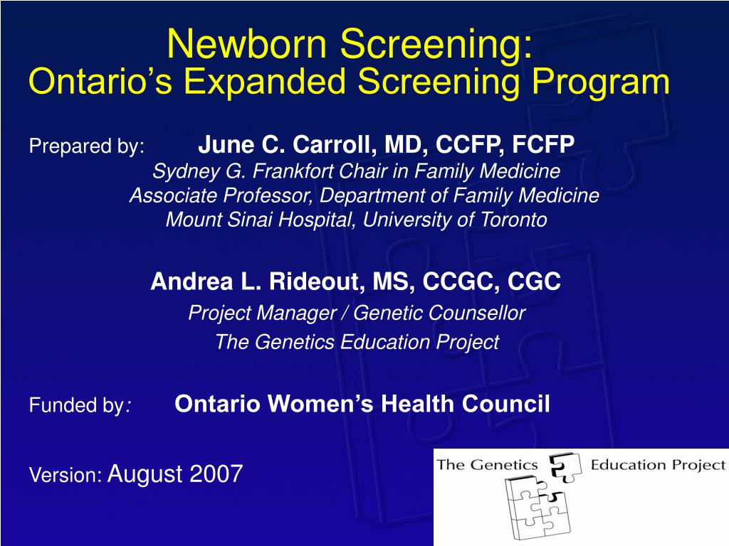 newborn screening ontario s expanded screening program l.