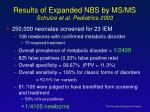 results of expanded nbs by ms ms schulze et al pediatrics 2003