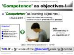 competence as objectives