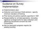guidance on survey implementation