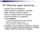 p4 what the report should be