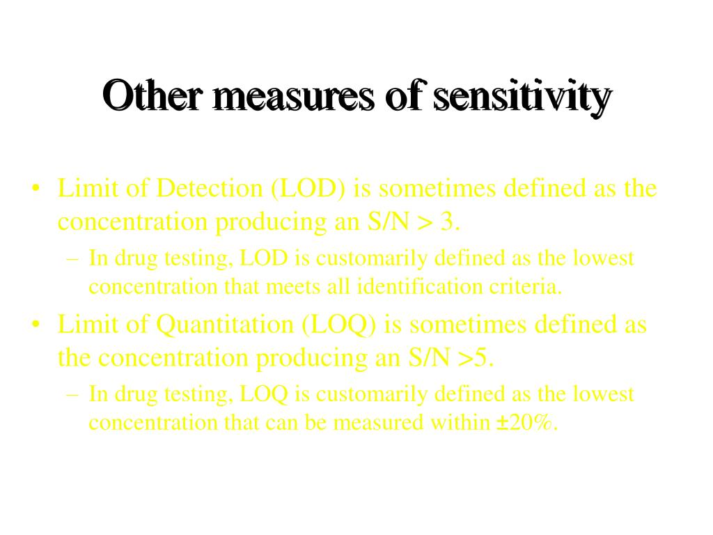 Other measures of sensitivity