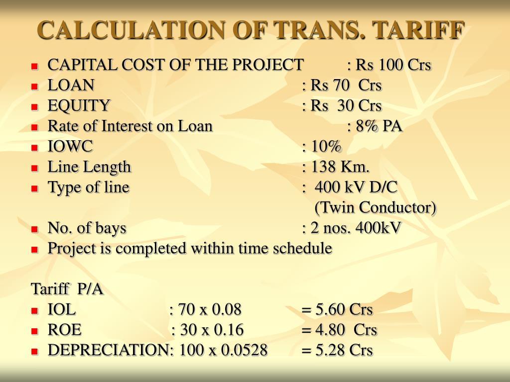 CALCULATION OF TRANS. TARIFF
