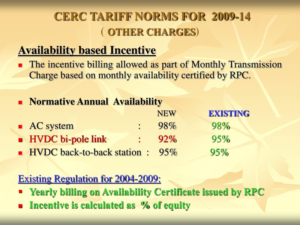CERC TARIFF NORMS FOR  2009-14