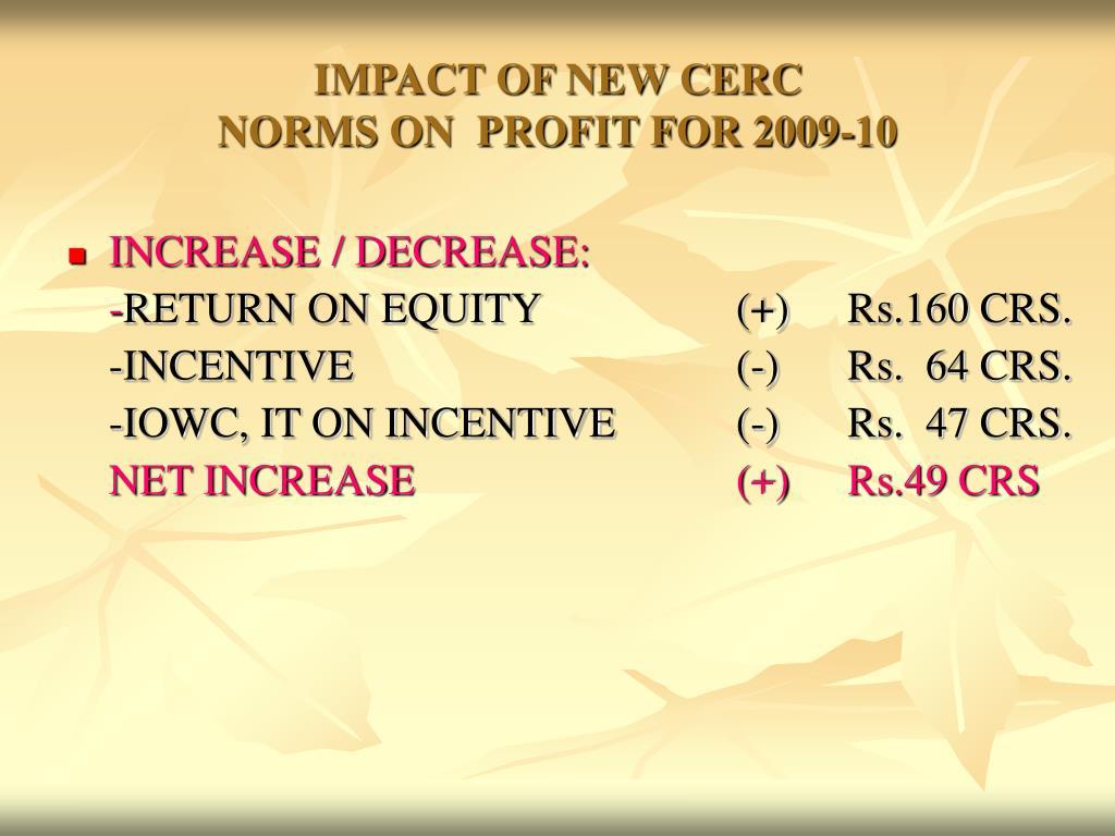 IMPACT OF NEW CERC