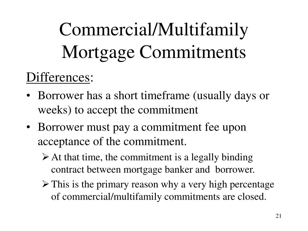 Commercial/Multifamily Mortgage Commitments
