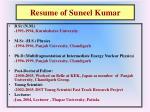 resume of suneel kumar