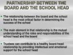 partnership between the board and the school head