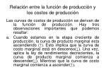 relaci n entre la funci n de producci n y los costos de producci n