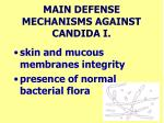 main defense mechanisms against candida i