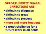 opportunistic fungal infections are