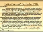 letter one 6 th december 1914