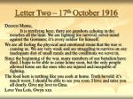 letter two 17 th october 1916