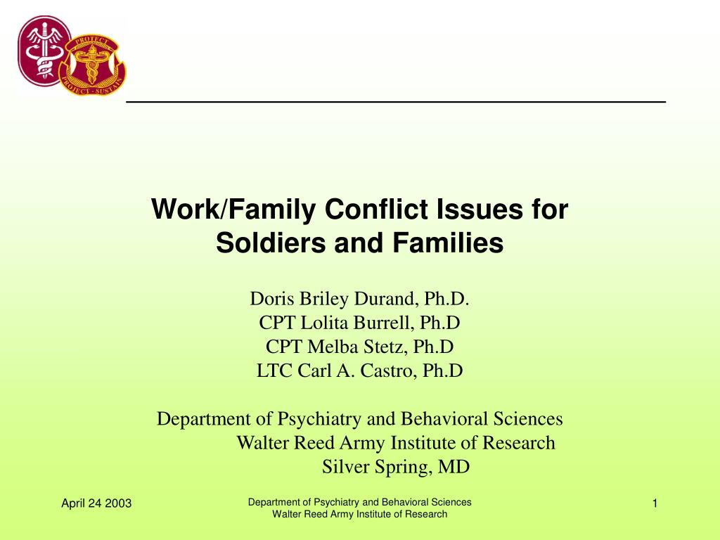 work family conflict issues for soldiers and families l.