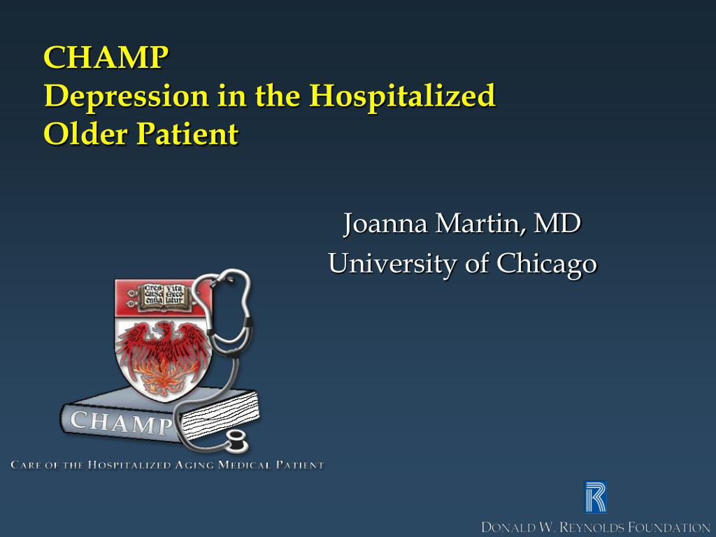 champ depression in the hospitalized older patient l.