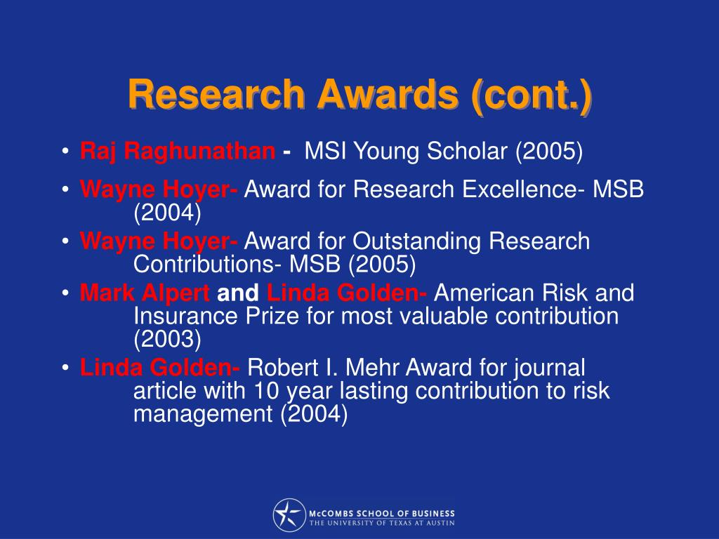 Research Awards (cont.)