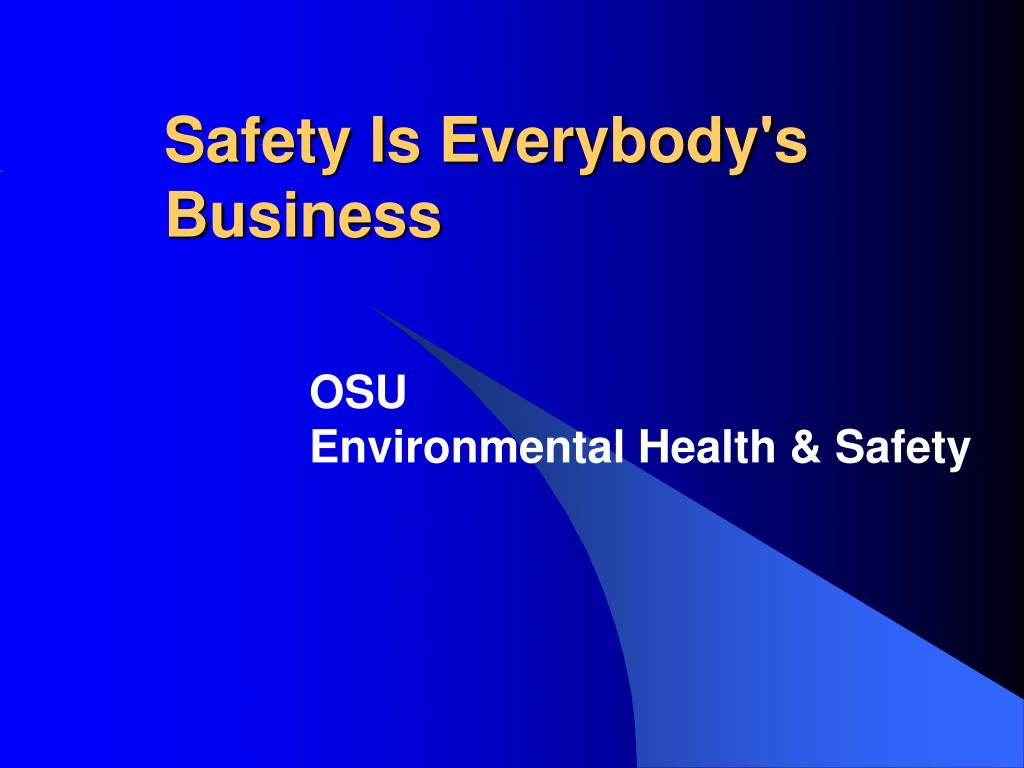 safety is everybody s business l.