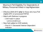 maximum pell eligibility for dependents of military personnel killed in iraq afghanistan