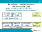 term based calculation before year round pell grant