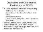 qualitative and quantitative evaluations of tides