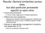 results general similarities across sites but also particular processes specific to each clinic