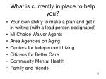 what is currently in place to help you