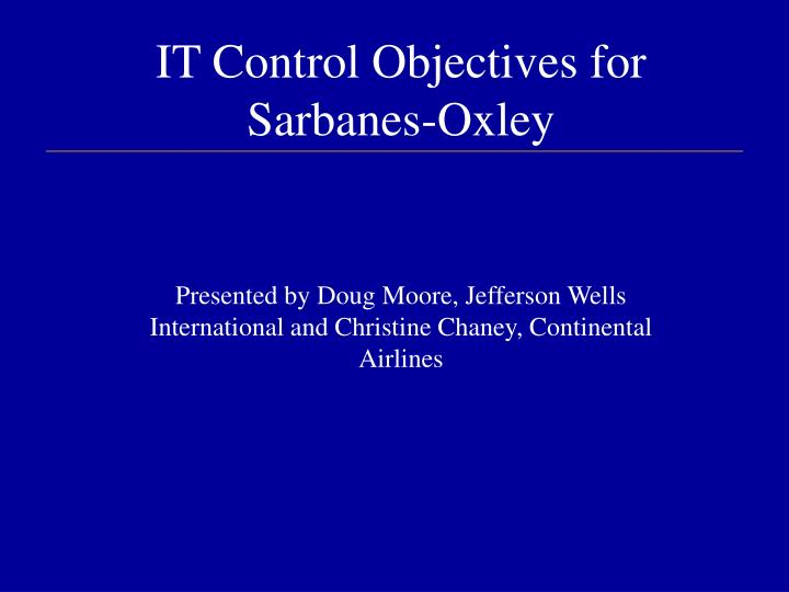 it control objectives for sarbanes oxley n.
